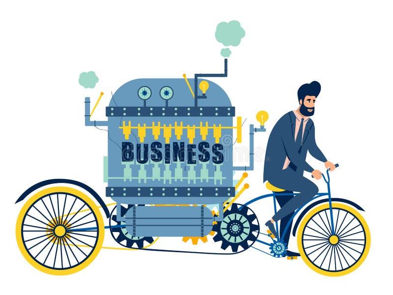 L'uomo d'affari conduce un'automobile di affari, bicicletta Nel vettore piano del fumetto minimalista di stile, isolato su fondo  royalty illustrazione gratis