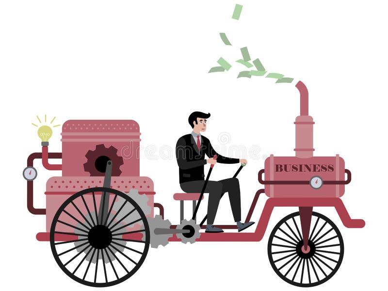 L'uomo d'affari conduce un'automobile di affari, bicicletta Nel vettore piano del fumetto minimalista di stile, isolato su fondo  illustrazione vettoriale