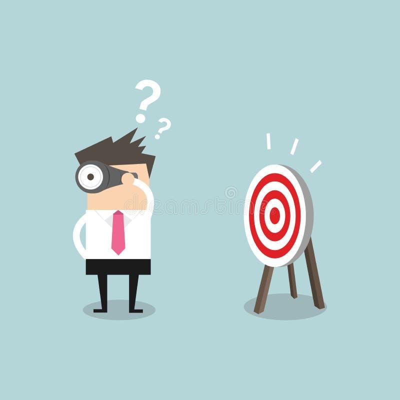 L'uomo d'affari confuso cerca l'obiettivo nella direzione sbagliata royalty illustrazione gratis