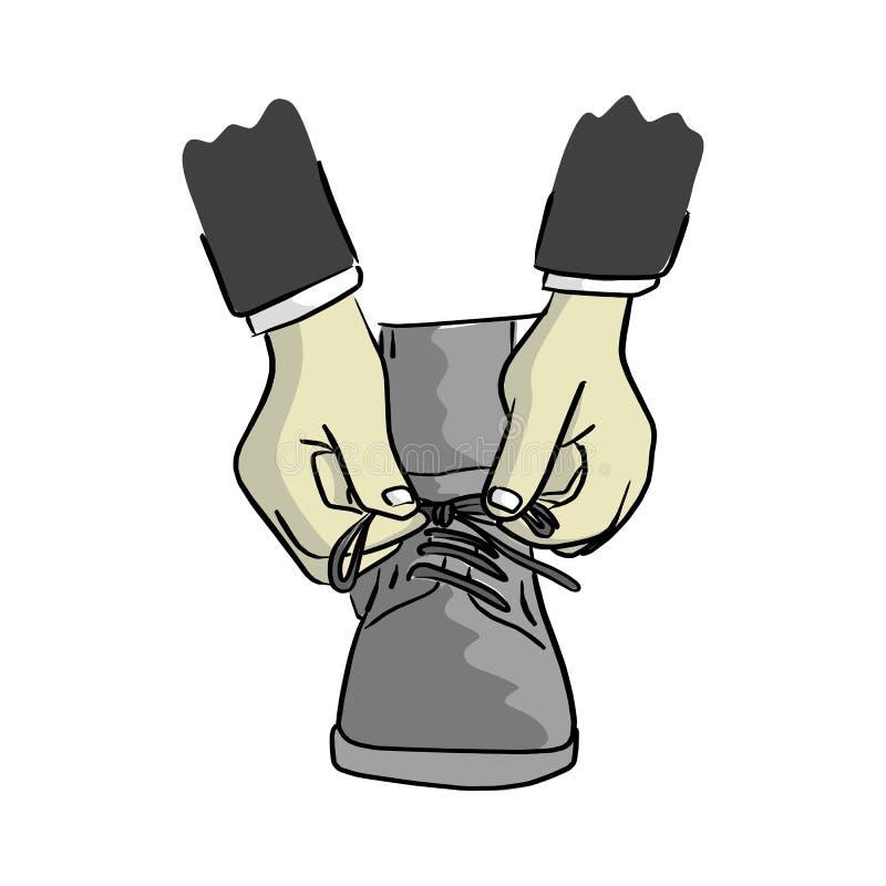 L'uomo d'affari del primo piano lega lo sketc dell'illustrazione di vettore dei laccetti royalty illustrazione gratis