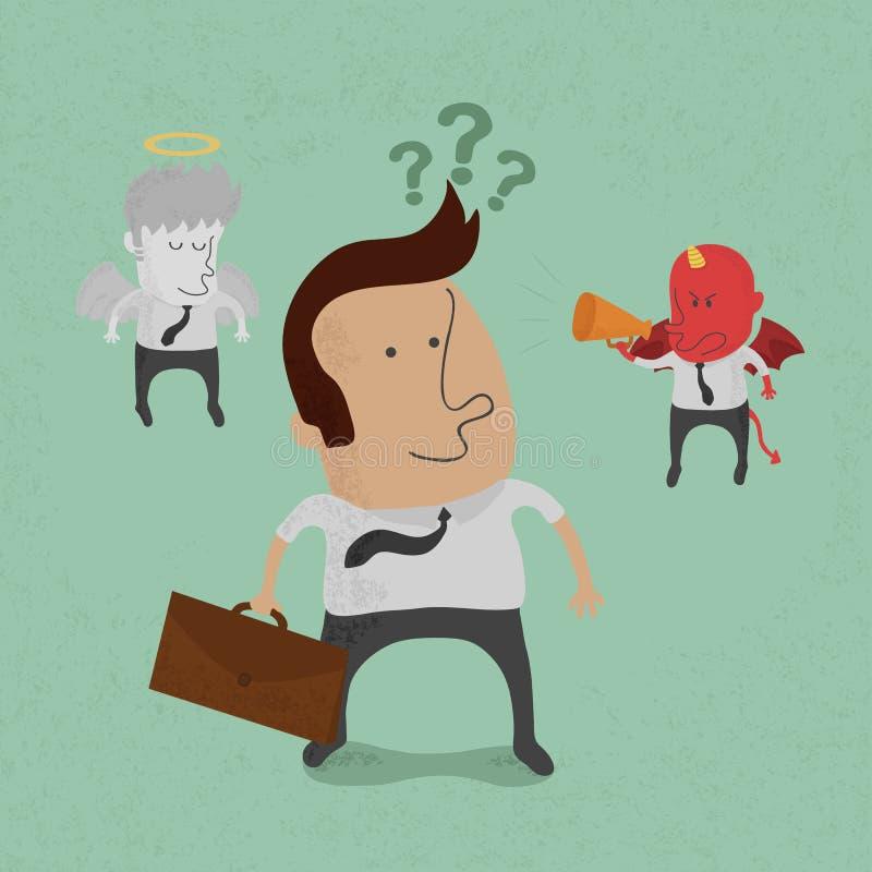 L'uomo d'affari deve scegliere fra il diavolo o l'angelo illustrazione di stock