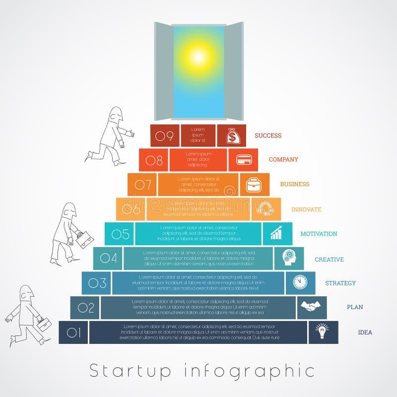 L'uomo d'affari di Infographics aumenta le posizioni del modello 9 delle scale illustrazione vettoriale