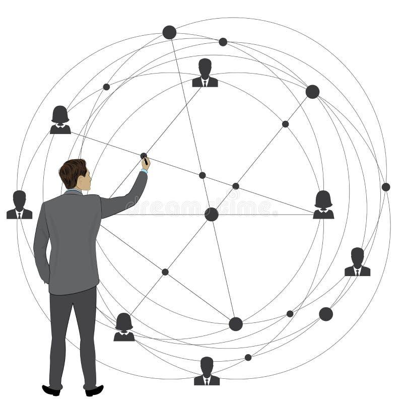 L'uomo d'affari disegna uno schema di affari globali royalty illustrazione gratis