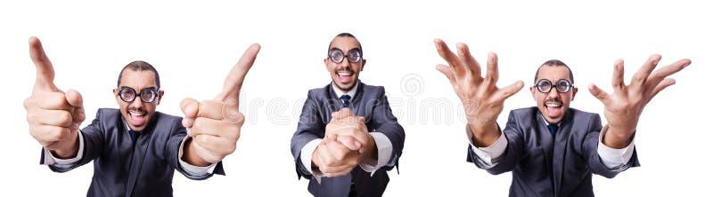 L'uomo d'affari divertente del nerd isolato su bianco immagine stock