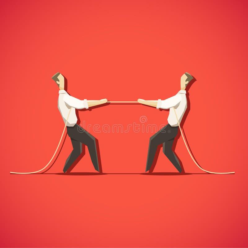 L'uomo d'affari due sta tirando la corda royalty illustrazione gratis