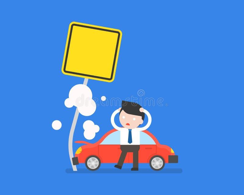L'uomo d'affari e l'incidente stradale si schiantano con la posta sulla strada, assicurazione illustrazione di stock