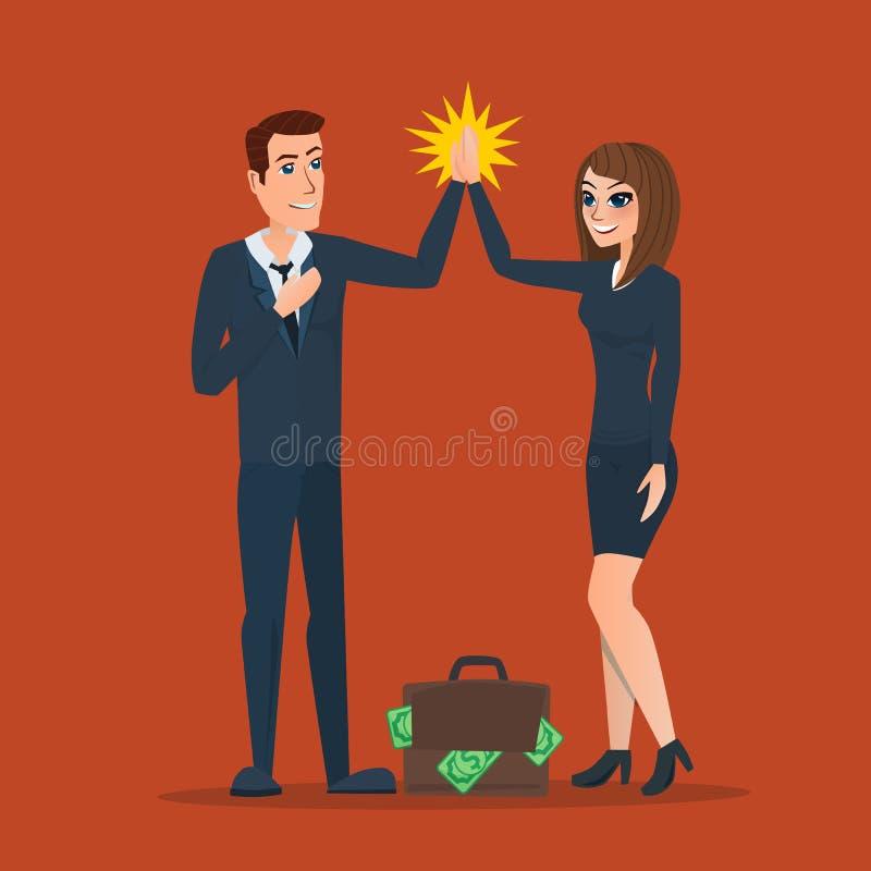L'uomo d'affari e la donna che applaudono si passa nell'associazione illustrazione vettoriale