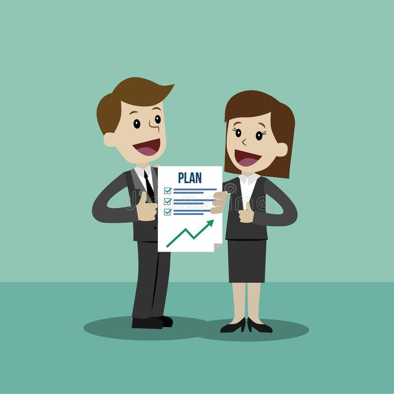 L'uomo d'affari e la donna di affari hanno un piano Il lavoro riesce finito illustrazione di stock
