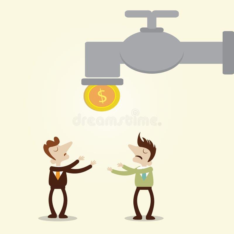 L'uomo d'affari e la moneta aspettante del responsabile cadono dal rubinetto royalty illustrazione gratis