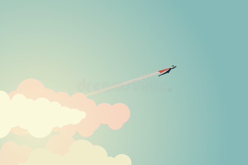 L'uomo d'affari eccellente di stile minimalista vola allo scopo ed al successo Direzione di simbolo, strategia, missione, obietti illustrazione vettoriale