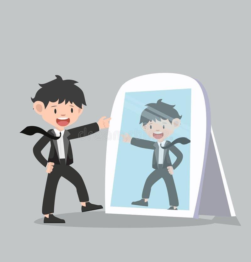 L'uomo d'affari esamina il vettore dello specchio illustrazione di stock