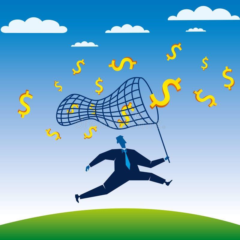 L'uomo d'affari fa concorrenza prova per catturare il dollaro illustrazione di stock