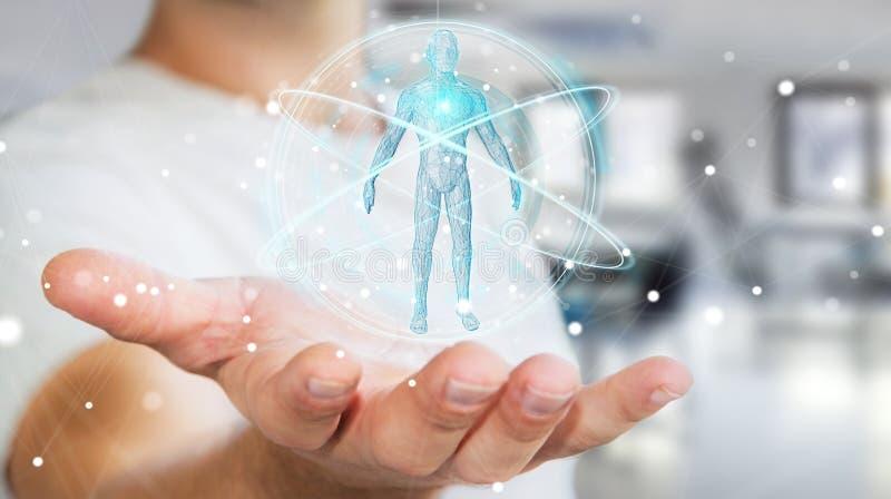 L'uomo d'affari facendo uso dell'interfaccia digitale 3D di ricerca del corpo umano dei raggi x ren illustrazione vettoriale