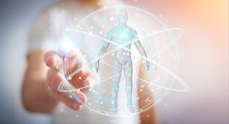L'uomo d'affari facendo uso dell'interfaccia digitale 3D di ricerca del corpo umano dei raggi x ren royalty illustrazione gratis