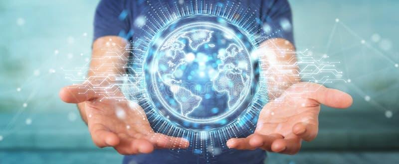 L'uomo d'affari facendo uso dell'ologramma della rete del globo con l'America S.U.A. traccia 3D illustrazione di stock
