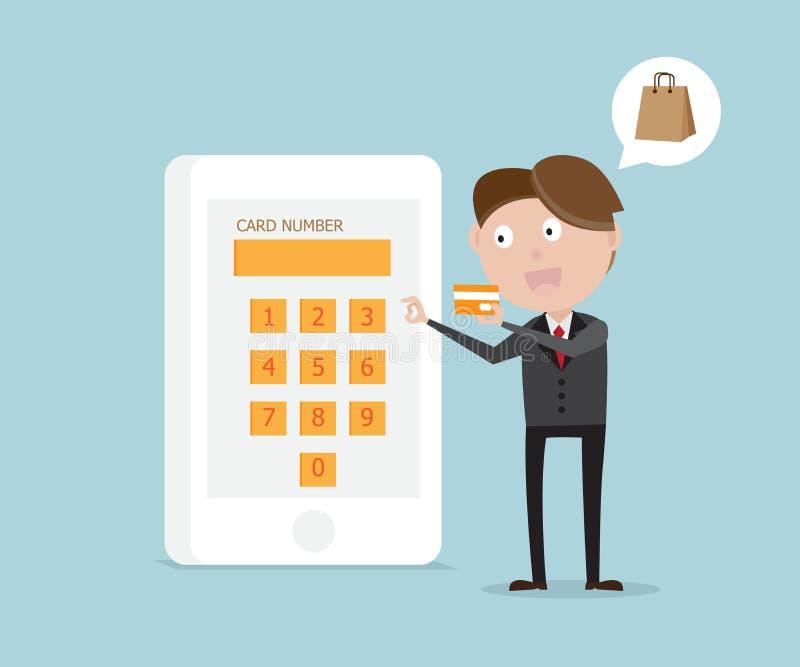 L'uomo d'affari fornisce il numero di carta in smartphone illustrazione vettoriale