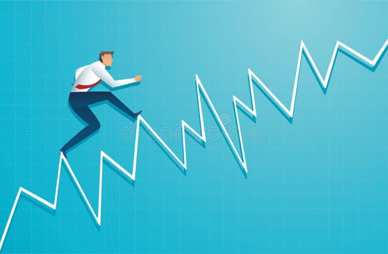 L'uomo d'affari funziona sul grafico, l'impiegato che si dirige fino alla cima della freccia, successo, risultato, vettore di sim illustrazione di stock