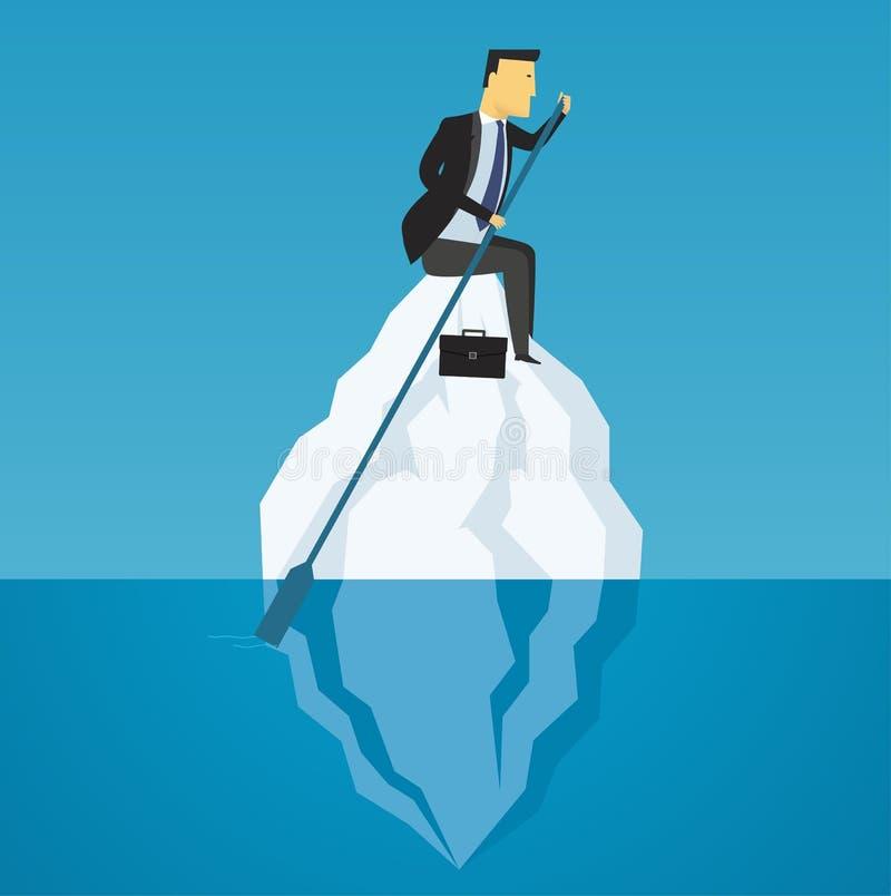 L'uomo d'affari galleggia sull'iceberg Sfida di affari illustrazione vettoriale