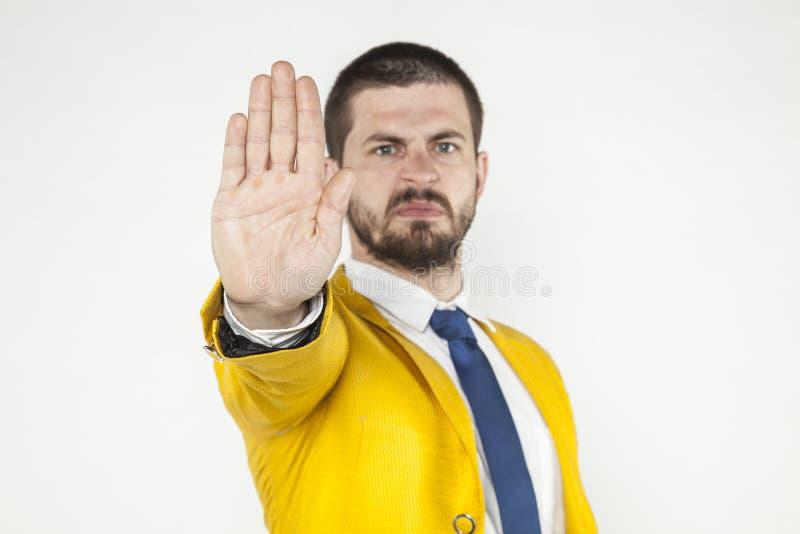 L'uomo d'affari gesture la fermata immagini stock libere da diritti