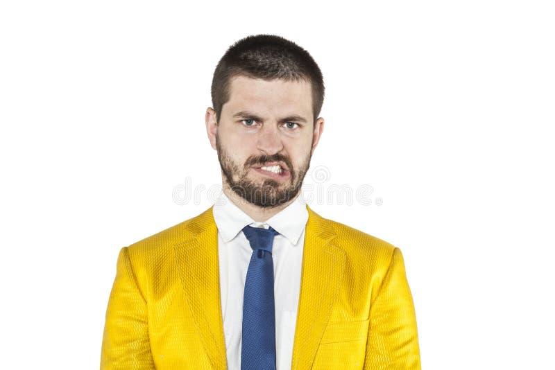 L'uomo d'affari gira la sua rabbia immagini stock