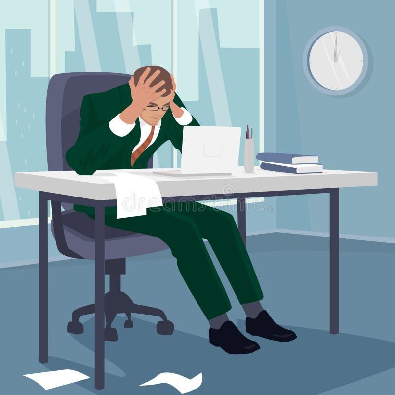 L'uomo d'affari ha afferrato la sua testa nella disperazione in ufficio illustrazione vettoriale