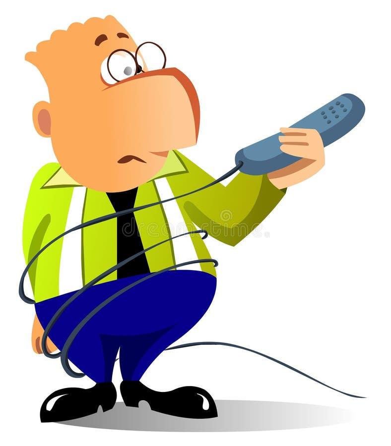 L'uomo d'affari ha aggrovigliato in su in collegare del telefono illustrazione vettoriale