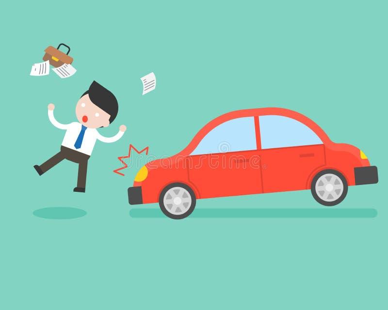 L'uomo d'affari ha colpito da un concetto dell'automobile, di incidente e di assicurazione royalty illustrazione gratis