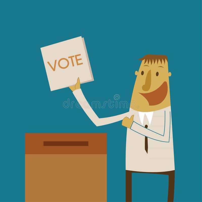 L'uomo d'affari ha messo un voto di voto nella scatola royalty illustrazione gratis