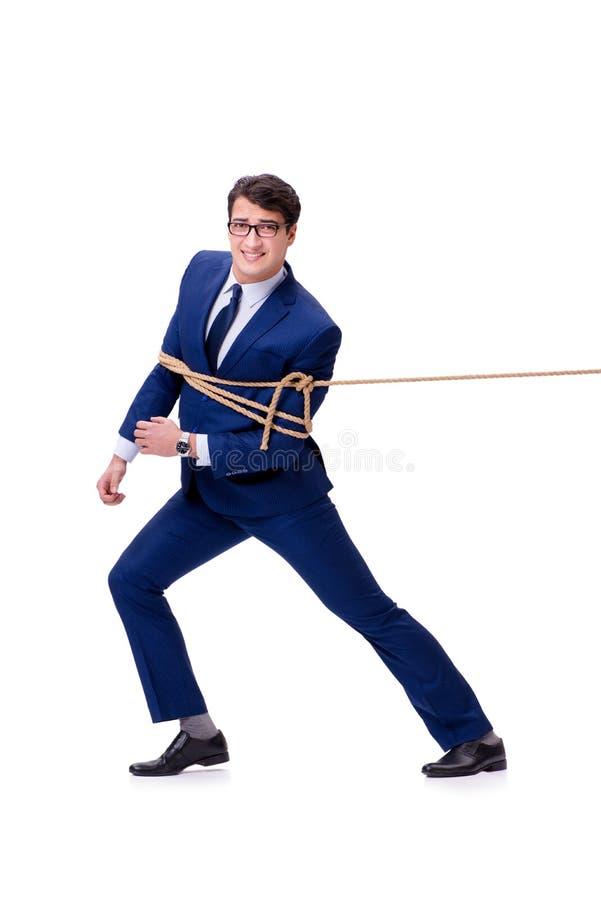 L'uomo d'affari ha preso con il lazo della corda isolato su bianco fotografia stock