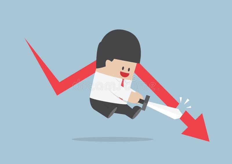 L'uomo d'affari ha tagliato il grafico di caduta, mercato azionario, conce finanziario illustrazione vettoriale