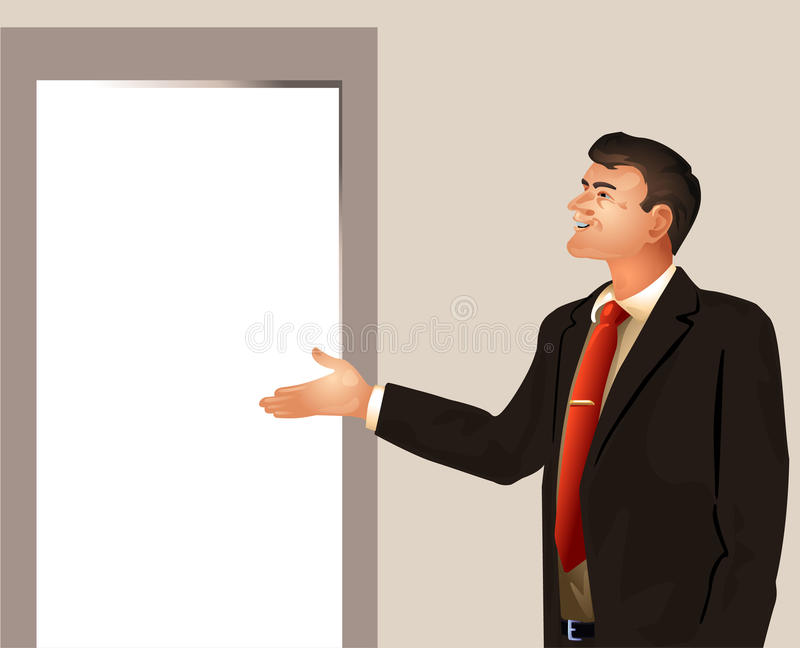 L'uomo d'affari invita entra illustrazione vettoriale