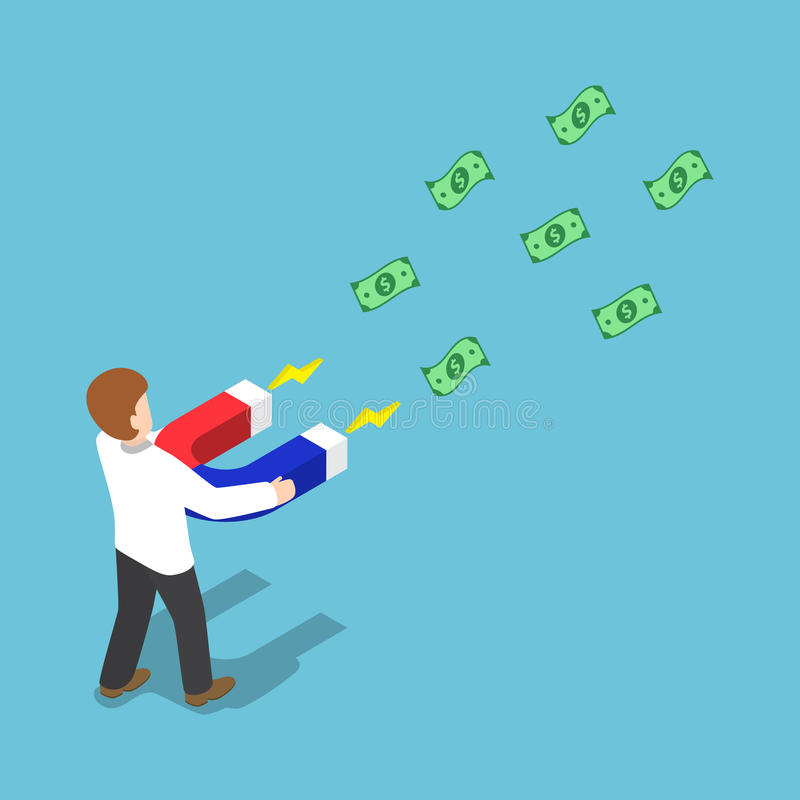 L'uomo d'affari isometrico attira i soldi con un grande magne a ferro di cavallo royalty illustrazione gratis