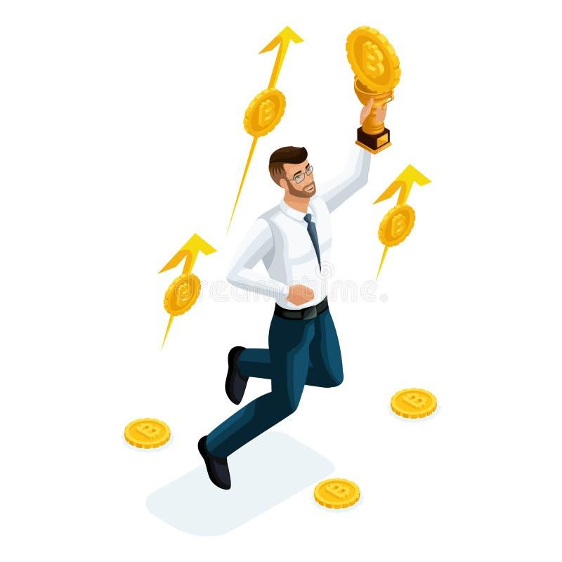 L'uomo d'affari isometrico, l'investitore, giocatore di mercato finanziario, ha guadagnato i soldi investiti nella valuta cripto  royalty illustrazione gratis