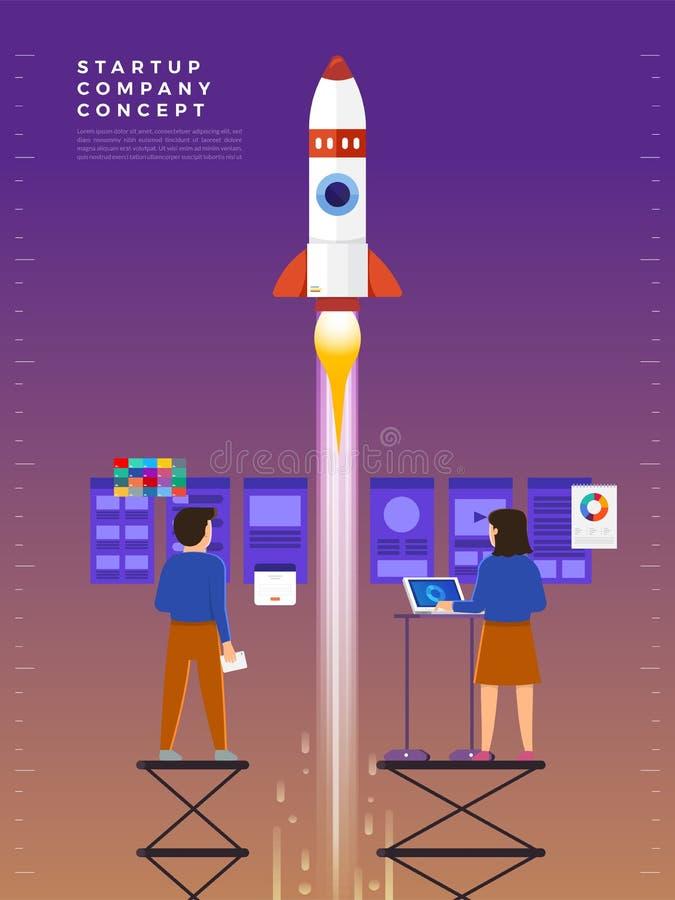 L'uomo d'affari lancia il razzo nel cielo, impiegato esegue illustrazione vettoriale