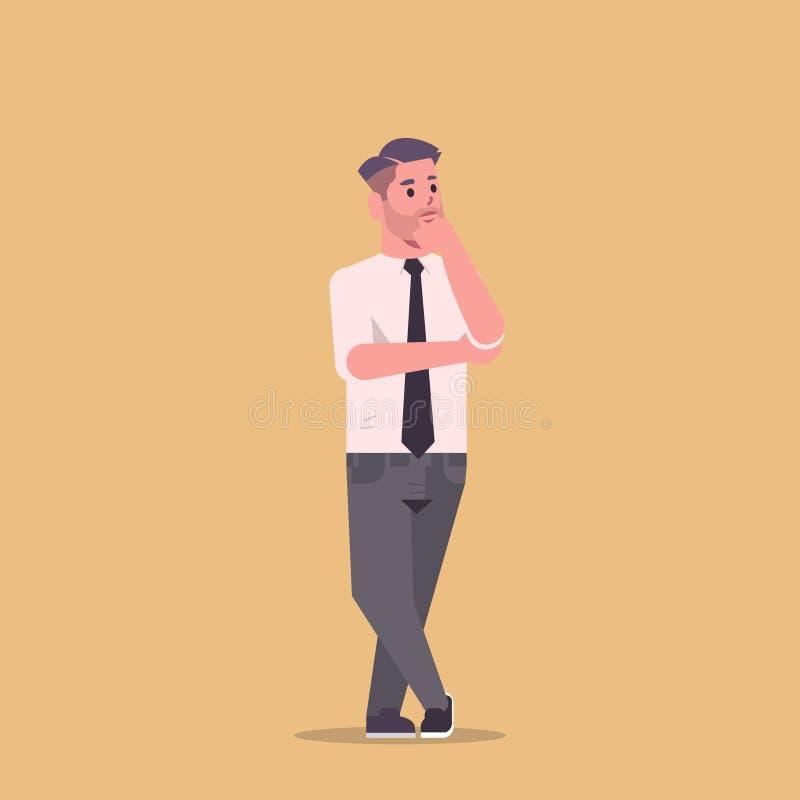 L'uomo d'affari in mano della tenuta di usura convenzionale sulla condizione del mento posa l'impiegato di concetto maschio sorri royalty illustrazione gratis