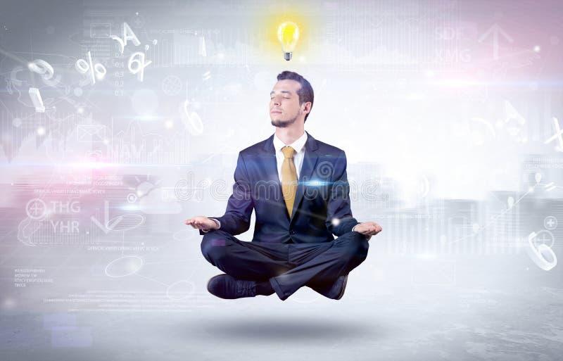 L'uomo d'affari medita con il concetto di chiarimento illustrazione di stock