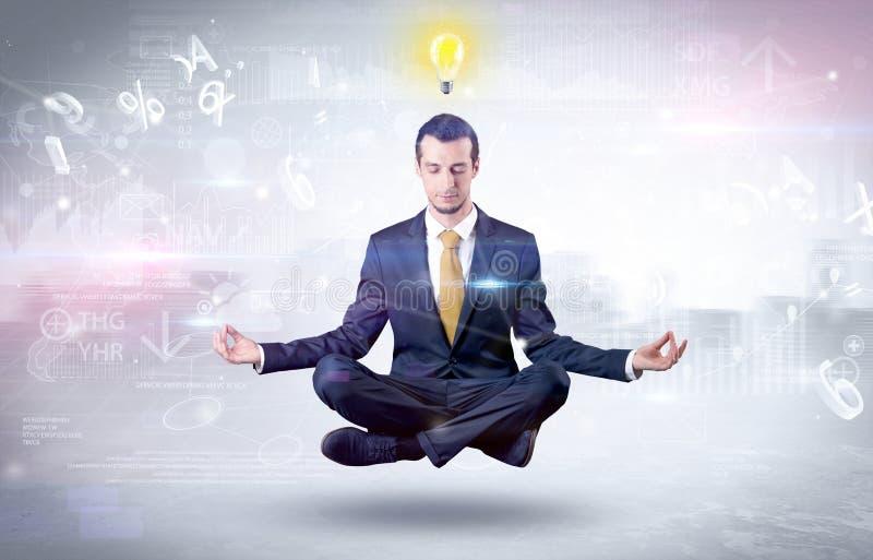 L'uomo d'affari medita con il concetto di chiarimento illustrazione vettoriale