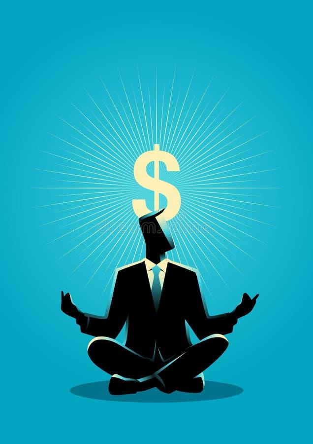 L'uomo d'affari medita con il simbolo del dollaro di chiarimento illustrazione vettoriale