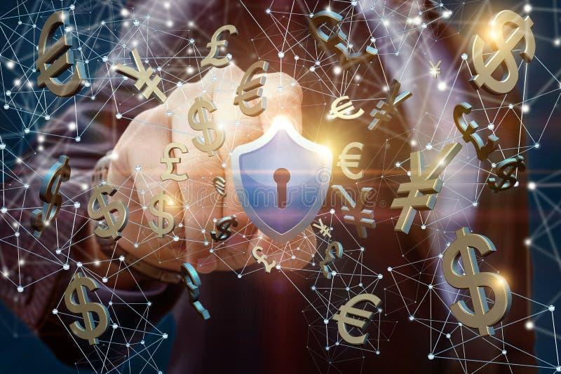 L'uomo d'affari mette la protezione dei suoi soldi elettronici immagini stock