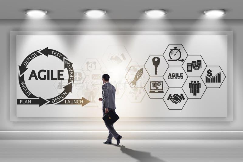 L'uomo d'affari nel concetto agile di sviluppo di software immagine stock