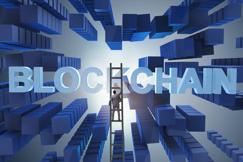 L'uomo d'affari nel concetto di cryptocurrency del blockchain illustrazione di stock