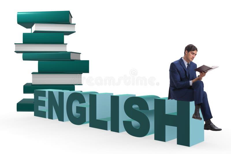 L'uomo d'affari nel concetto di formazione linguistica di lingua inglese fotografie stock