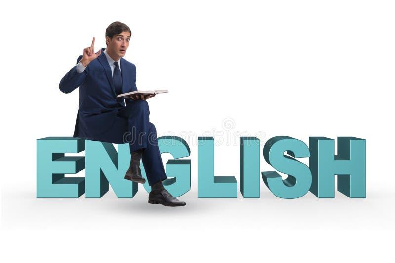 L'uomo d'affari nel concetto di formazione linguistica di lingua inglese fotografia stock