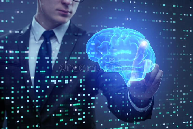 L'uomo d'affari nel concetto di intelligenza artificiale royalty illustrazione gratis