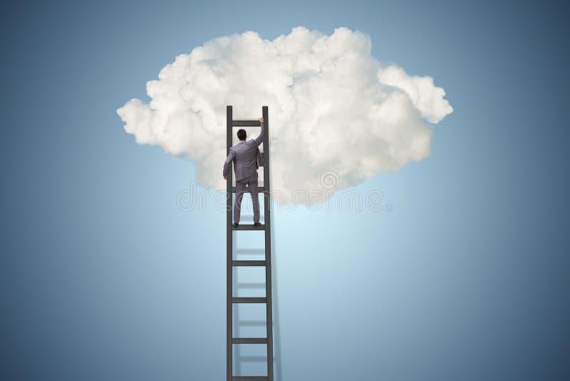 L'uomo d'affari nel concetto di motivazione e di ambizione immagine stock