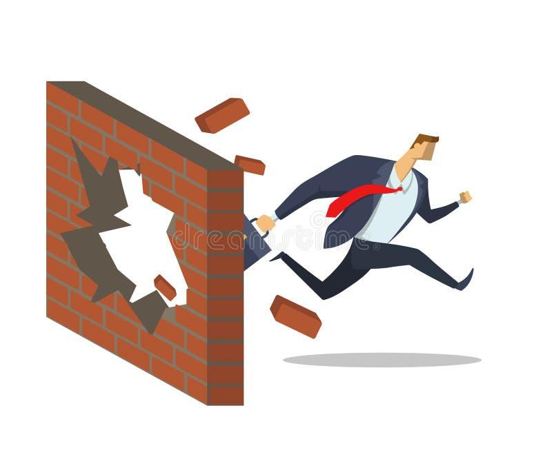L'uomo d'affari nel vestito dell'ufficio attraversa il muro di mattoni mentre funziona ai suoi scopi Raggiungimento degli scopi C illustrazione vettoriale