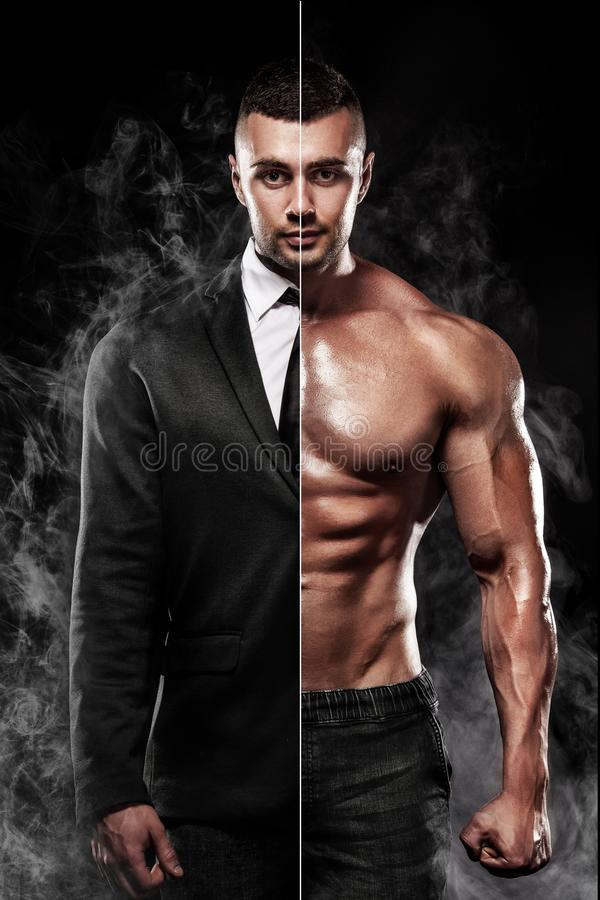 L'uomo d'affari nel vestito e nella giovane forma fisica muscolare mette in mostra l'uomo Allenamento con la testa di legno nella immagini stock