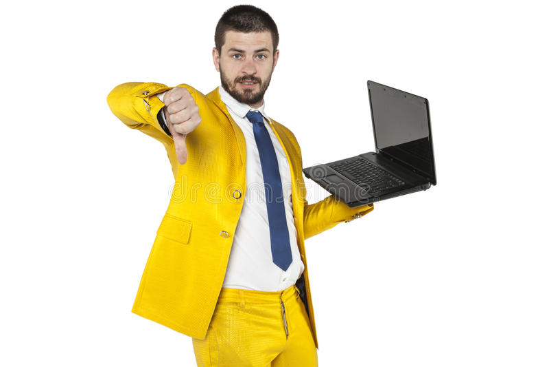 L'uomo d'affari non raccomanda la società specifica dell'attrezzatura immagini stock