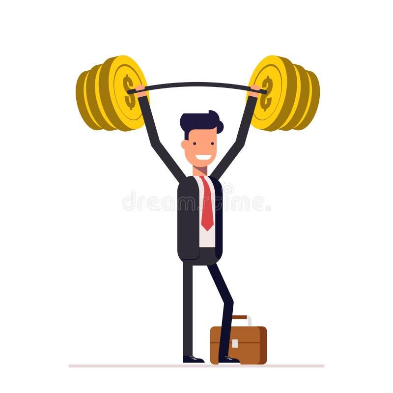 L'uomo d'affari o il responsabile, è alzato prontamente la barra con i soldi Uomo ricco in un vestito Vettore, illustrazione illustrazione vettoriale