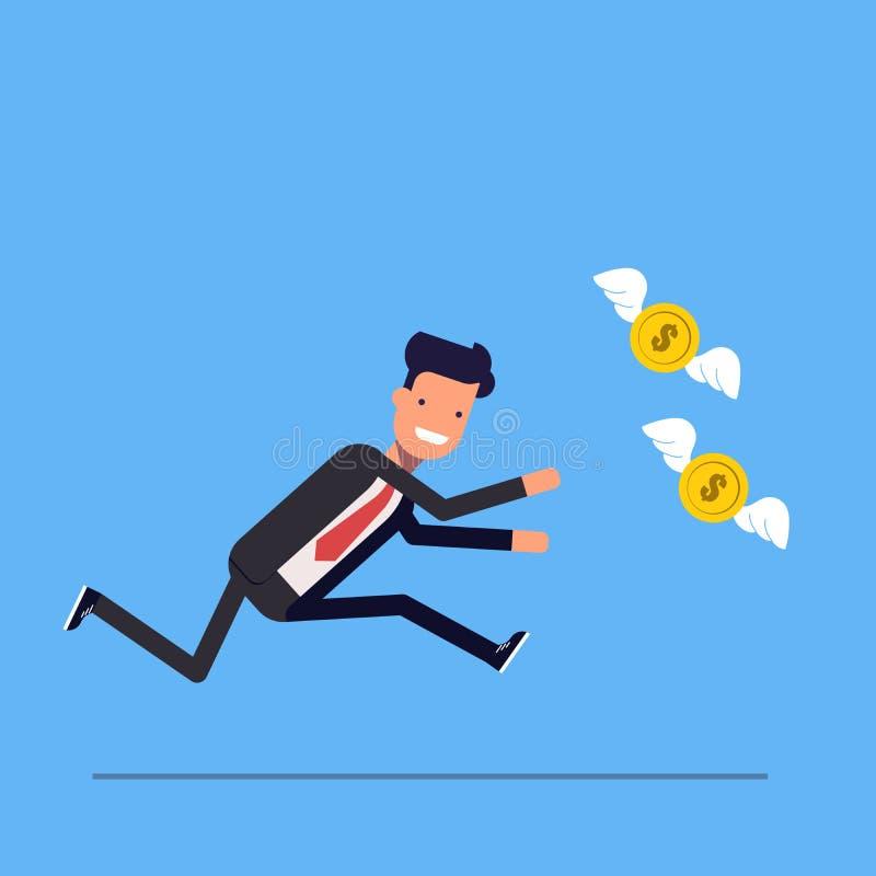 L'uomo d'affari o il responsabile funziona dopo che i soldi volano via illustrazione di stock